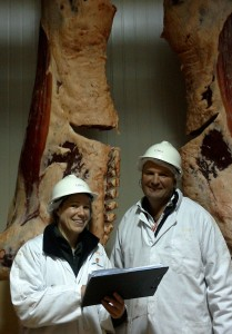 Pictured with Sam Nelson during carcase grading at JBS.