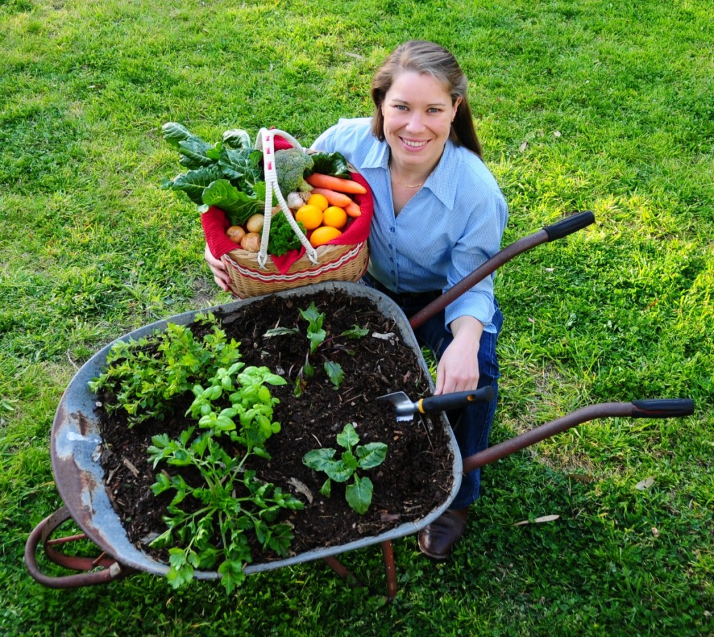 Blooming Barrows of Fun: Melissa Neal, Bendigo Show Society planting a Wheelbarrow Garden for the October Show.